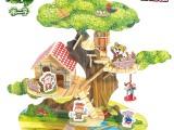 爸爸去哪儿场景3D木质积木拼图房屋别墅模型益智创意玩具礼品