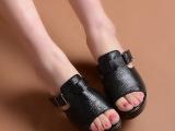 厂家直销2014夏季新款粗跟凉拖鞋 简单休闲居家漏趾真皮女鞋批发