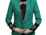2015小西装外套女装韩版修身V领豹纹九分袖单扣职业小西装女 春