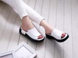 2014新款坡跟女凉拖真皮拖鞋平底鞋一字拖鞋 批发 松糕厚底女鞋