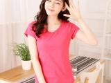 女装纯棉纯色V领短袖T恤