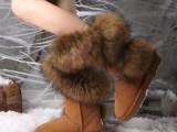新款狐狸毛雪地靴皮毛一体羊毛口女靴厚底纽扣真皮正品冬厂家批发