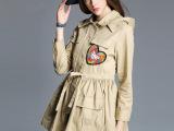 欧美女装2015秋季新款连帽束腰风衣女长袖心形钉珠欧美外套 女式