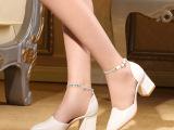 工厂直批欧洲站新款单鞋真皮羊皮尖头中跟粗跟中空凉鞋一件代发