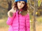 2014新款女装 瑞丽纯色 袖口毛边可拆卸 真貉子毛领 短款羽绒服
