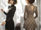 爆款2013春秋韩版 OL高领蕾丝长袖纯色大摆 性感气质夜店连衣