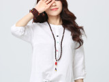 2015春棉麻女衬衫 白色打底衫圆领韩版上衣七分袖衬衣宽松衬衫女