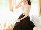 2014夏装新款韩版中长款两件套连衣裙 欧根纱无袖上衣大摆裙