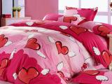 精品家纺-纯棉床上用品高密全棉斜纹环保印花四件套 天使之心粉色