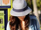韩国代购 女夏季 遮阳帽蓝白条纹翻边编织草帽宽檐礼帽批发遮阳帽