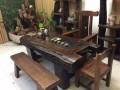 老船木家具天然海螺孔龙骨茶桌椅船木茶台
