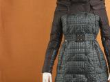 外贸原单女式中长款收腰修身通勤拼接羽绒棉服风衣 小批量混批