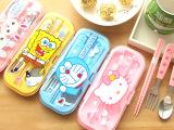 尚派~旅行环保 卡通盒装筷叉勺三件套 不锈钢餐具 儿童餐具套装