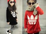 2014女童装冬季新款 金丝绒加厚长款打底t恤 童装一件代发代理