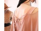 韩版时尚气质假两件雪纺裙一字领露肩露背性感 夜店连衣裙