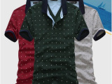 2014春夏新款 个性百搭翻领POLO衫 男装韩版修身短袖pol