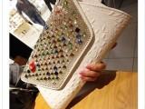 新款镶钻手拿包欧美时尚个性带钻手包韩版水钻潮女晚宴手抓包