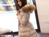 韩版秋冬季品牌女装新款 貉子毛领长款修身加厚棉服羽绒服 批发
