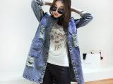 2015春装新款韩国复古七分袖宽松中长款水洗牛仔风衣外套女
