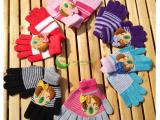 蕾凯尔手套家直销秋冬卡通针织手套女士保暖羊毛分指手套批发