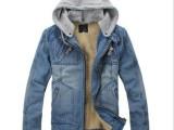 秋冬新品 男士加厚加绒牛仔夹克 可脱卸帽牛仔衣 外套 男302加厚