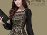 2014春装新款韩版修身雪纺衫上衣蕾丝打底衫女长袖小衫潮
