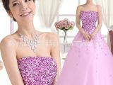 高档新娘婚纱长款抹胸绑带结婚敬酒晚礼服晚装主持人紫色礼服批发