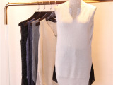 韩版V领亮丝针织背心 雪纺拼接修身贴身背心 中长款纯色小背心