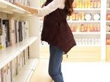 2013冬装新款女装女式羽绒服斗篷马甲收腰斜拉链娃娃装韩版修身潮