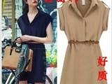 2014夏装新款女装欧美大牌短袖宽松衬衫裙大码连衣裙 送腰带25