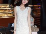 模特实拍*2014夏季新款 韩版无袖蕾丝盘花上衣