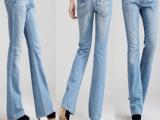 2013新款欧版街头女蕾丝装饰水洗磨白浅色修身大喇叭裤牛仔裤81