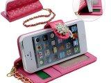 新款iPhone5/5s光面吊坠皮套 苹果5手链插卡皮套 钻花保