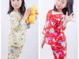 2015夏装新品女小中大卡通童装休闲短袖短款套装棉绸家居服