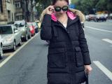 2015冬装新款 韩版大毛领羽绒棉服中长款 棉衣女式外套批发