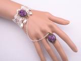2005义乌复古蕾丝女手链带戒指新娘伴娘小饰品批发婚庆用品礼品