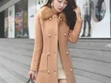 毛呢外套女秋冬女装新款韩版修身羊绒羊毛呢子大衣 女批发