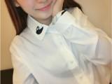 9153新款韩版娃娃领小天鹅图案刺绣女白衬衣长袖衬衫