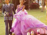 2015现款外景摄影主题婚纱双肩V领蕾丝刺绣梦幻紫色礼服