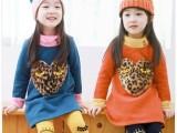 2014外贸韩版儿童爱心豹纹抓绒卫衣套装女童时尚加绒保暖套装