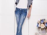 艾依纺实拍2014新款秋季破洞猫须小脚裤 女式修身牛仔长裤 显瘦