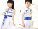 新款六一儿童合唱服中小学生青花瓷诗歌朗诵舞蹈演出服装特价批发