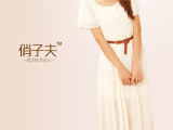 俏子夫新款2014夏季韩版显瘦长裙 荷叶边女裙子 修身雪纺连衣裙