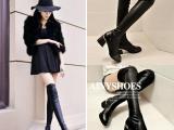 欧美女鞋春冬季保暖高跟过膝长靴骑士靴高筒靴粗跟小香风女靴批发