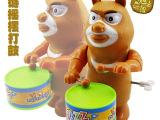 上链发条打鼓熊 熊大 熊二 摇摆打鼓发声 地摊热卖儿童动漫玩具
