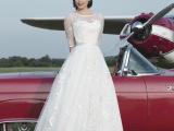 2014婚纱最新款 时尚甜美气质欧美风中袖短款新娘婚纱 厂家直销