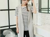 女装新韩版长款修身无袖百搭显瘦有范时髦纯色马甲女外套秋