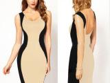 2014夏季外贸女装新款同款性感露背无袖包臀修身连衣裙出口欧美