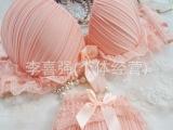 650 蕾丝条纹 可爱少女内衣 插片文胸套装批发
