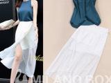 2014高端定制韩版蓝色无袖上衣+白色不规则开叉裙 套装